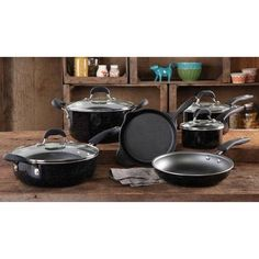 The Pioneer Woman Vintage Speckle Non-Stick Pre-Seasoned Cookware Set, Black Dishwasher Safe * Learn more by visiting the image link. Kitchen Cookware Sets, Kitchen Items, Kitchen Dining, Kitchen Dishes, Kitchen Island, Stainless Steel Brackets, Black Dishwasher, Pots And Pans Sets
