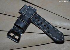 Black distressed handmade leather watch strap by CentaurStraps, €65.00