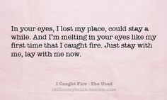 caught fire in your eyes lyrics: