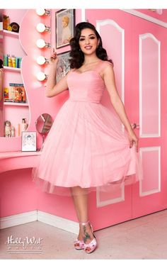 Pinup Girl Clothing- Garden State Dress in Pink by Unique Vintage | Pinup Girl Clothing