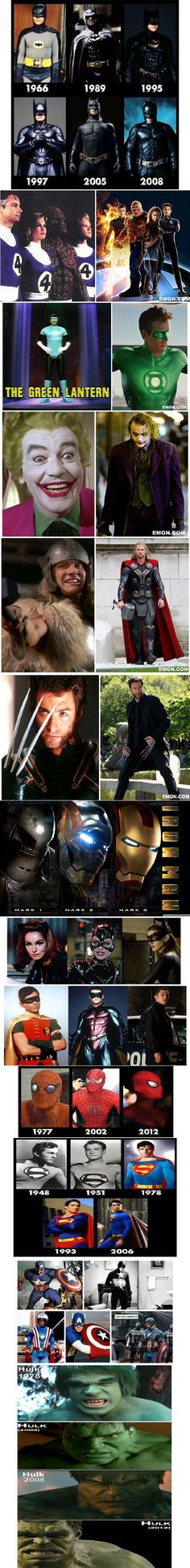 """""""The Evolution of Superheroes."""" Tell me how Wolerine is the same actor (Hugh Jackman) from the same exact series, only a couple of movies away XD Nobody else will ever be Wolverine~ <333"""