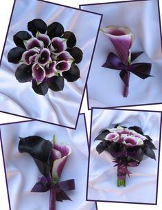 Picasso Calla Lily Silk Wedding Bouquet Set by BridalBouquets, $492.00