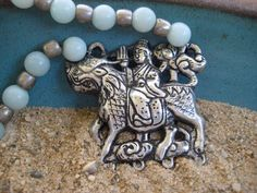 Vintage Chinese Foo Dog Pendant Necklace Repousse by CatchingWaves, $60.00