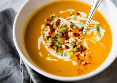 A pureed sweet potato soup that is hearty enough to enjoy for dinner. Made with roasted red peppers and sweet potatoes. Gluten-free and vegan.