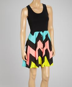 Look what I found on #zulily! Coral & Yellow Zigzag Racerback Dress by Cherry Stix #zulilyfinds