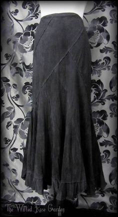 Gothic Victorian Black Ombre Panelled Fishtail Skirt 12R Steampunk Edwardian Vtg | THE WILTED ROSE GARDEN
