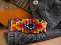 Colorful Southwest and Turquoise, Bohemian, Native, Beaded Cuff, Vegan Bracelet