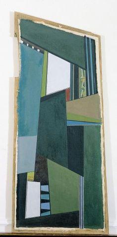 Blaszko, Martín  1920 - 2011  Estructura o Luces blancas o Blanco y verde  1947   Óleo sobre tela montada sobre hardboard   112,5 x 51,5 cm