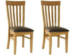 Essentials Oak Slat Back Dining Chair with Faux Seat x 2 - Light Oak stain and satin lacquered finish £177.98