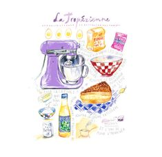 La Tropezienne, French cake illustrated recipe print, 8X10 print, Kitchen art, Bakery decor, Food illustration print, Giclee art print
