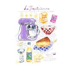 La Tropezienne  French cake illustrated recipe poster Food illustration Kitchen art Home decor Bakery Watercolor artwork Lucileskitchen