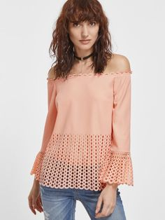 Pink Laser Cutout Off The Shoulder Bell Sleeve Top