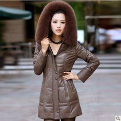 Fox fur collar, the whole sheep skin women Genuine leather jacket, women's full long down jackets, hooded, zipper slim coat