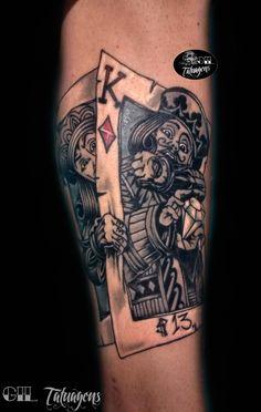 tatuagem de cartas, tattoo baralho, tatuagem rei , tattoo jogos tatuagem na perna