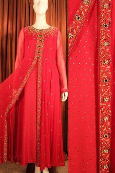 Red Silk chiffon shalwar kameez Pakistani by KhasApparelSociety                                                                                                                                                                                 More