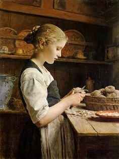 Girl Peeling Potatoes by Swiss Painter Albert Samuel Anker 1831 – 1910 Peeling Potatoes, Mashed Potatoes, Classical Art, Beautiful Paintings, Love Art, Monet, Oeuvre D'art, Art History, Painting & Drawing