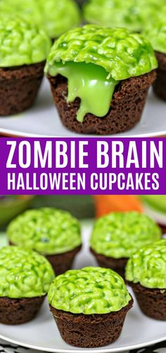 """Brain Halloween Cupcakes - Cuisine - Halloween -Zombie Brain Halloween Cupcakes - Cuisine - Halloween - Zombie Brain Brownie Bites are bite-sized brownies, topped with a bright green zombie brain that oozes green chocolate """"slime"""" when you bite into it! Halloween Brownies, Halloween Desserts, Postres Halloween, Halloween Treats For Kids, Halloween Chocolate, Halloween Cupcakes Decoration, Holiday Cupcakes, Halloween Cookies, Chocolate Slime"""