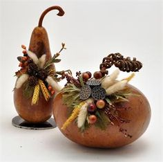 floral arranging on gourds