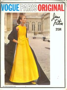 A fabulous, princess seamed ball gown in yellow silk by Jean Patou (N° 2134), photo Richard Dormer. Vogue Pattern Book April-May 1969