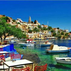 Halki Colorful Small Traditional Island Dodecanese Stock Photo (Edit Now) 151069907 Greek Islands To Visit, Best Greek Islands, Greece Islands, Best Honeymoon Destinations, Travel Destinations, Mykonos, The Places Youll Go, Places To Go, Jardin Luxuriant