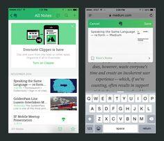 Evernote Clipper for iOS by Kara Hodecker for Evernote Design