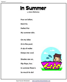 This is a cute poem about summer for all of you with summer fever!