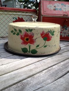Vintage Cream and Floral Covered Cake Plate Pie by krmvintage