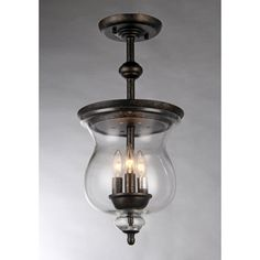 """Whse of Tiffany RL8114 Madigan 3-Light Glass Antique Pendant Lamp, 10"""", Clear. Glass shade pendant lamp Antique finish pendant lamp Modern pendant lamp Setting: Indoor Fixture finish: Antique Shades: Clear glass. Requires Three (3) x 60-watt E12 bulbs (NOT INCLUDED) Line switch Dimensions: 10 inches diameter x 22 inches high Light Bulb Type: Candelabra Product Features: CSA Listed, ETL Listed, UL Listed. Height: 20 in to 23 in Switch Type: Hardwired Width: 16 in or less Color: Clear…"""