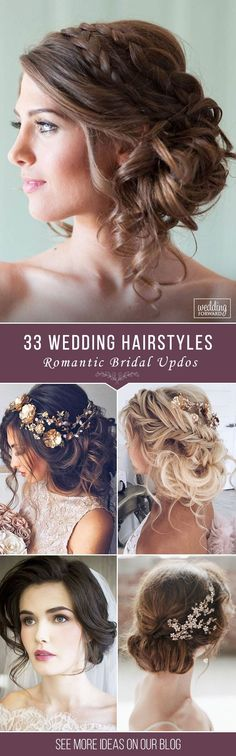 33 Wedding Hairstyles - Romantic Bridal Updos ❤ From high-volume braids to soft curly waves with gorgeous flowers, we've created a beautiful collection of romantic bridal hairstyles for your wedding day. See more: http://www.weddingforward.com/romantic-bridal-updos-wedding-hairstyles/