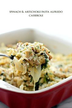 Spinach and Artichoke Pasta Alfredo Casserole - Delicious vegetarian dinner with Spinach, Artichokes and Orzo pasta mixed in a lightened-up Alfredo Sauce.