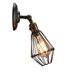 simplicity edison industrial antique wire cage wall sconce mini antique wire cage ul listed