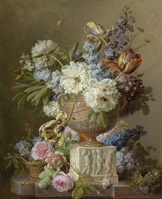 "Gerard van Spaendonck ""Still Life of Flowers in Alabaster Vase"" Oil on canvas Located in the Rijksmuseum, Amsterdam, Netherlands Oil Painting Flowers, Large Painting, Famous Flower Paintings, Pick Art, Acrylic Painting For Beginners, Cleveland Museum Of Art, Dutch Painters, Painting Still Life, Flower Of Life"