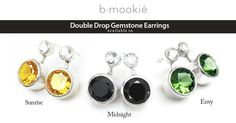 Double Drop Gemstone Earrings available in Sunrise, Midnight and Envy