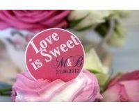 24 Personalised, Edible Cupcake Toppers Love is Sweet Design at www.marikasgallery.co.uk