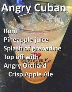 1 oz of Clear Rum 2 oz Pineapple Juice Big Splash of Grenadine Fill with… 1 oz of Clear Rum 2 oz Pineapple Juice Big Splash of Grenadine Fill with Angry Orchard Hard Cider Beer - Fresh Drinks Liquor Drinks, Cocktail Drinks, Alcoholic Drinks, Drink Beer, Refreshing Drinks, Yummy Drinks, Alcohol Drink Recipes, Bartender Recipes, Bartender Drinks