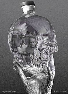 Dena Wenzel Dixon's portrait of #CrystalHeadVodka and Dan Aykroyd. #M.C. Escher #Escher