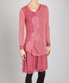 Light Burgundy Lace Linen-Blend Tunic by Pretty Angel #zulily #zulilyfinds