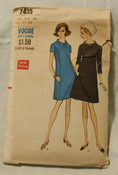 Vogue 7435 Vintage 1960s Mod Dress Sewing by EleanorMeriwether, $12.00