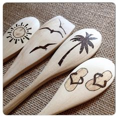 Wood Burned Spoons, Summertime Beach design, Natural Wooden spoons, Vacation reminder, Houseboat/cottage gift, set of 4, READY TO SHIP