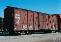 Type: Boxcar  Built Date: 4/1931  Location: Huntsville, ON  Date: May 21st 1980  Photographer: Don Jaworski Canadian National Railway, Canadian Pacific Railway, Ho Trains, Model Trains, Old Steam Train, Railroad Pictures, Railroad History, Railroad Photography, Rail Car
