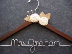 RUSTIC Wedding Dress Hanger - Personalized Bridal Hanger - Burlap Muslin Hanger - Custom Bride Gift - Shower Gift - Mrs Name Hanger
