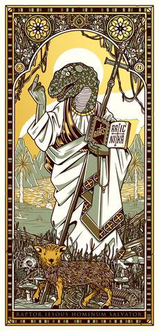 Raptor Jesus is so beautiful immortalized in your heart... and stained glass.