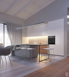 This gorgeous 203 square meter home in Belarus uses its bright white interior as an effective canvas for a dramatic meeting between organic shapes and clean lin Latest Kitchen Designs, Modern Kitchen Design, Modern House Design, Kitchen Interior, Interior Design Living Room, Interior Decorating, Kitchen Dinning Room, Dining Area, Gray And White Kitchen