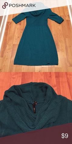 Teal cowl neck sweater dress Such a pretty color! Teal Takeout sweater dress. Perfect for the cooler weather! Size small. Dresses Midi