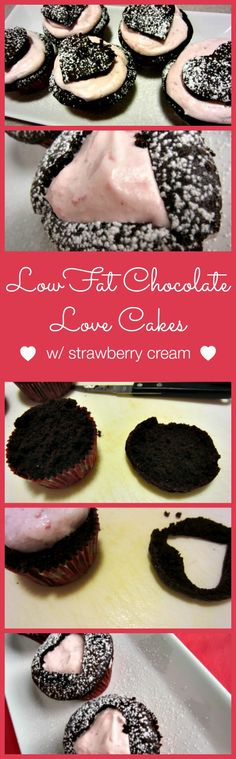 Low Fat Chocolate Love Cakes | Renee's Kitchen Adventures: Low fat cupcakes with skinny strawberry cream filling cut into hearts for your sweetheart!
