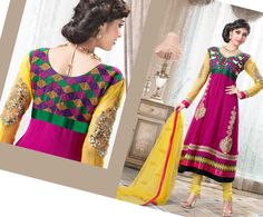 $100.21 Pink Full Sleeve Faux Georgette Long Anarkali Salwar Kameez 20594