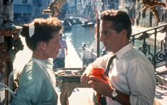 Katharine Hepburn (left) and Rossano Brazzi in Venice in David Lean's 1955 film Summertime.  This film was a revelation to me when I finally saw it for the first time last year.