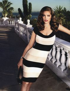 Emily DiDonato: Great broad stripe dress.