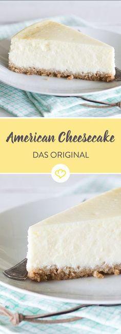 Sahne statt Crème fraîche. Und Keks-, statt Biskuitboden. Der American Cheesecake ist ein bisschen kompakter als das Original aus New York.