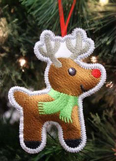 Heirloom Christmas Ornament - Reindeer (In-the-Hoop) design (X12705) from www.Emblibrary.com